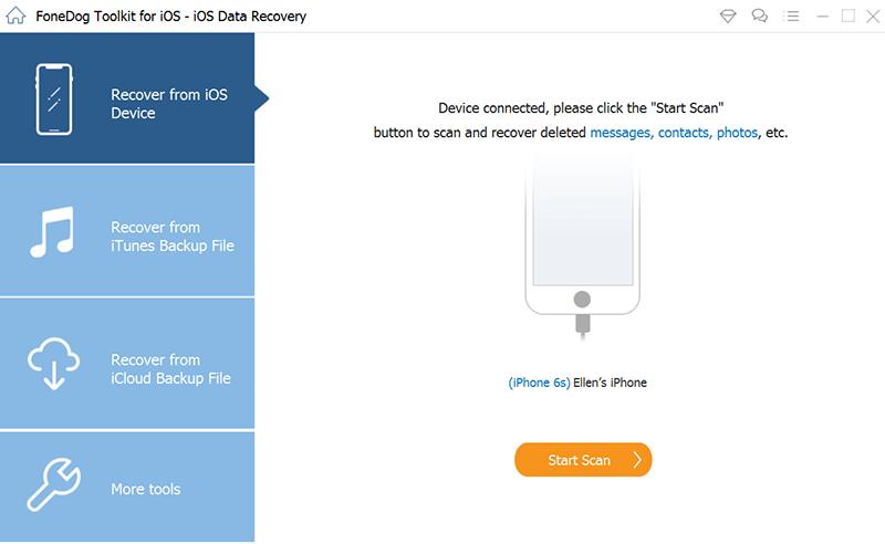 Lancez FoneDog iOS Data Recovery et connectez votre appareil iOS