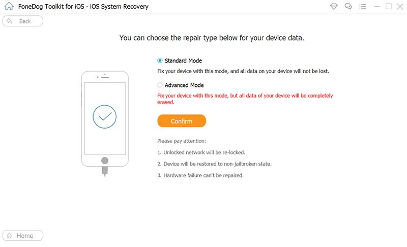 Sélectionnez Récupération du système iOS